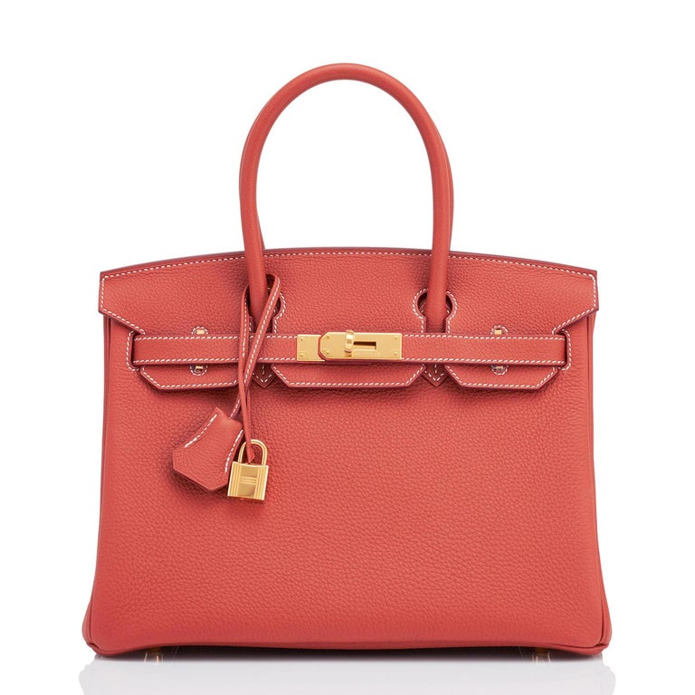 Hermes Sanguine Orange Red 30cm Togo Birkin Bag Gold Z Stamp, 2021 In New Condition For Sale In New York, NY