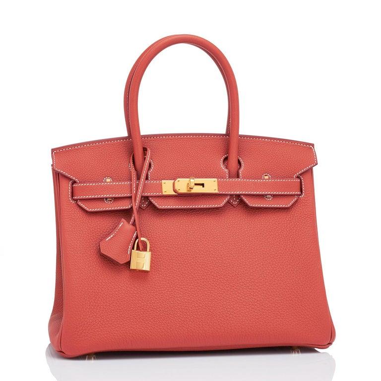 Women's Hermes Sanguine Orange Red 30cm Togo Birkin Bag Gold Z Stamp, 2021 For Sale