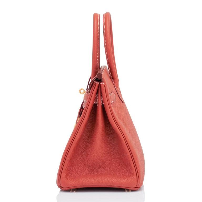 Hermes Sanguine Orange Red 30cm Togo Birkin Bag Gold Z Stamp, 2021 For Sale 1