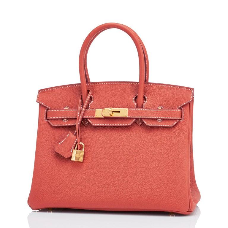 Hermes Sanguine Orange Red 30cm Togo Birkin Bag Gold Z Stamp, 2021 For Sale 2