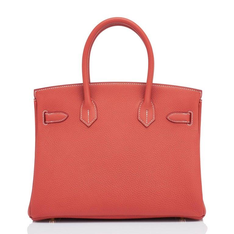 Hermes Sanguine Orange Red 30cm Togo Birkin Bag Gold Z Stamp, 2021 For Sale 3