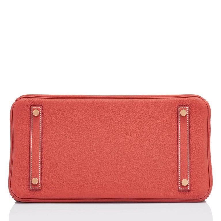 Hermes Sanguine Orange Red 30cm Togo Birkin Bag Gold Z Stamp, 2021 For Sale 4
