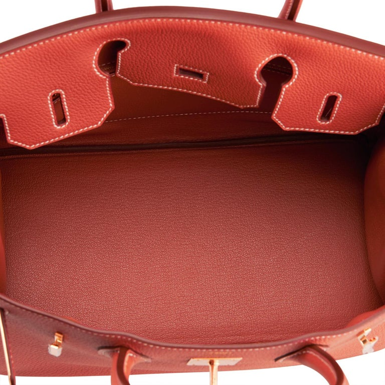 Hermes Sanguine Orange Red 30cm Togo Birkin Bag Gold Z Stamp, 2021 For Sale 5