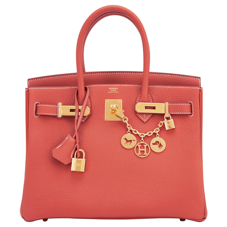 Hermes Sanguine Orange Red 30cm Togo Birkin Bag Gold Z Stamp, 2021