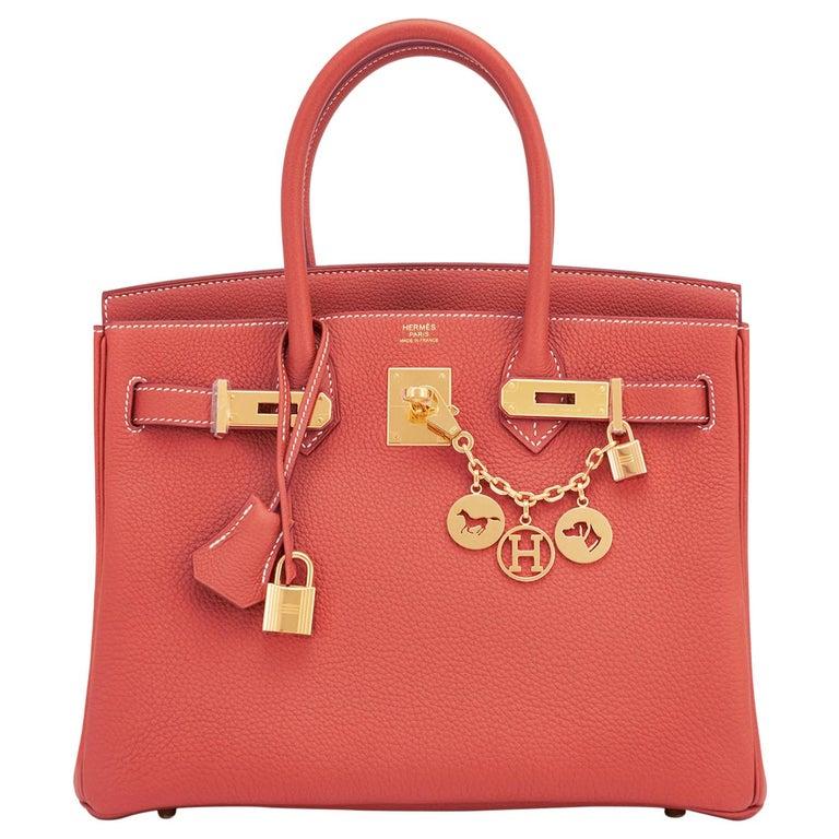 Hermes Sanguine Orange Red 30cm Togo Birkin Bag Gold Z Stamp, 2021 For Sale