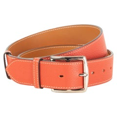 HERMES Sanguine red Clemence leather ETRIVIERE 38mm Belt 90