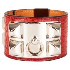 HERMES Sanguine red CROCODILE & Palladium COLLIER DE CHIEN Cuff Bracelet