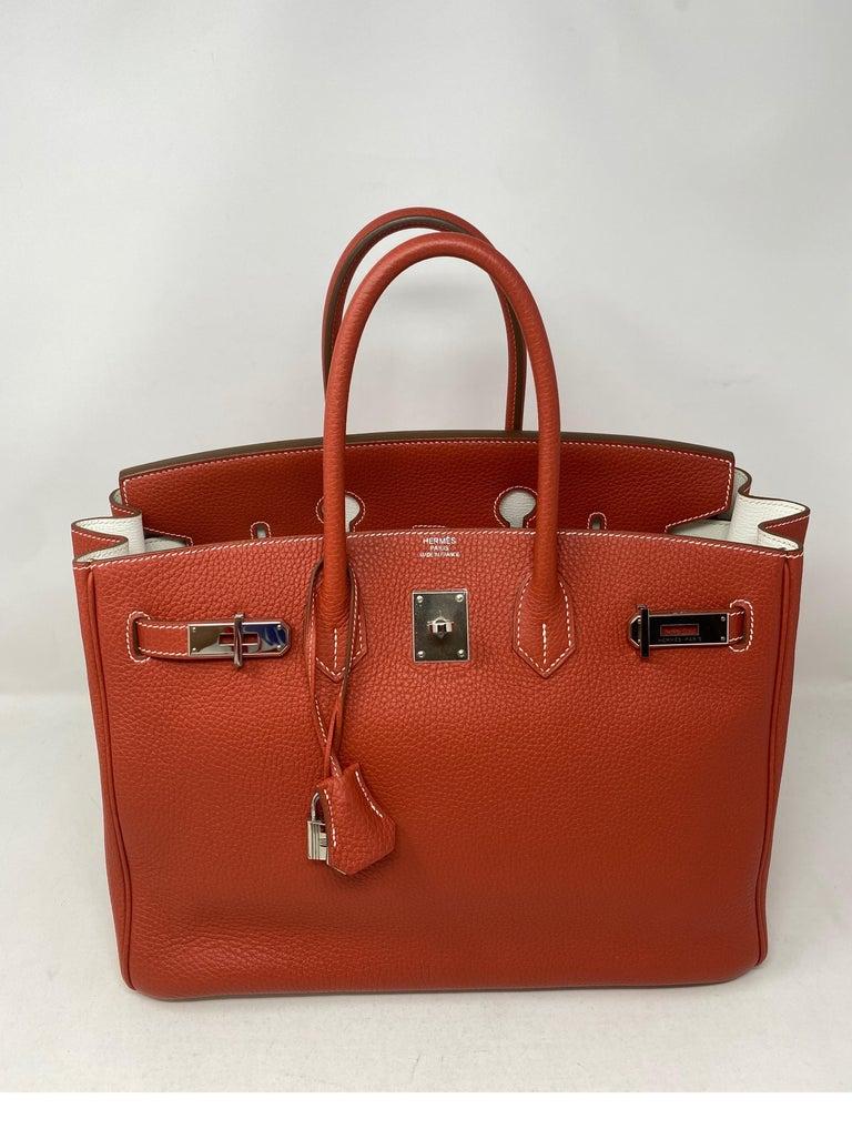 Hermes Sanguine Two Tone Birkin 35 Bag  For Sale 11