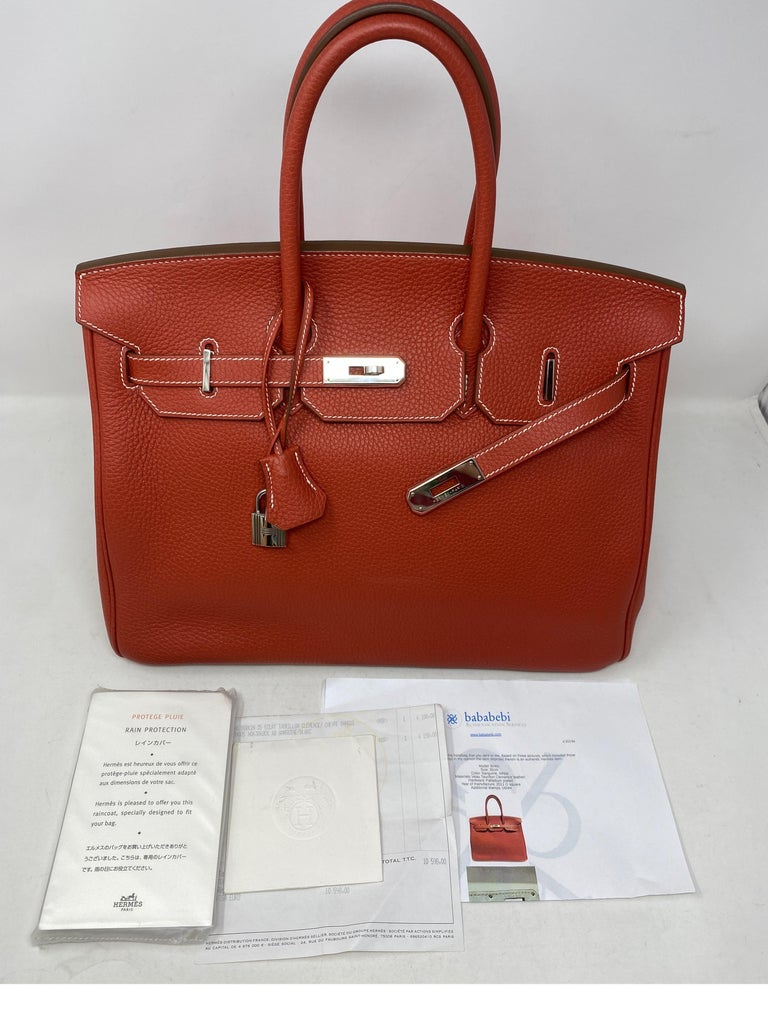 Hermes Sanguine Two Tone Birkin 35 Bag  For Sale 15