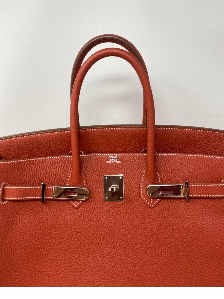 Red Hermes Sanguine Two Tone Birkin 35 Bag  For Sale