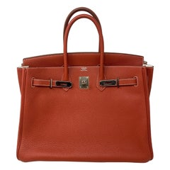 Hermes Sanguine Two Tone Birkin 35 Bag