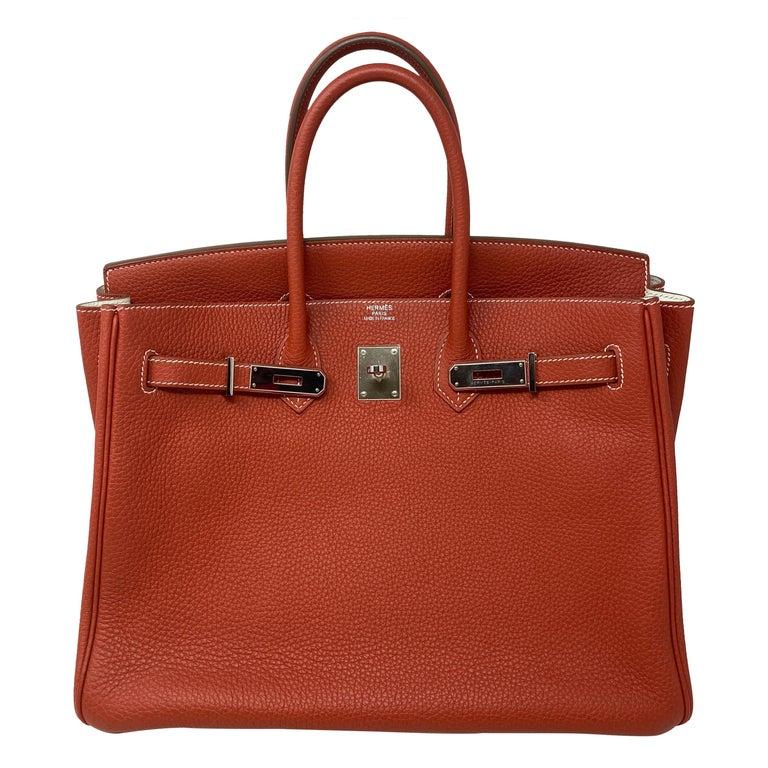 Hermes Sanguine Two Tone Birkin 35 Bag  For Sale