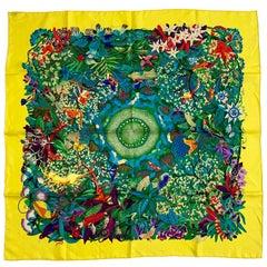 Hermès Scarf 'Au coeur de la Vie' in Yellow Silk