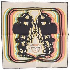 Hermes Scarf Brides de Gala Shadow 45 Beige / Ebene /Jaune / Citron Silk Twill