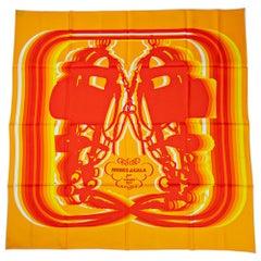 Hermes Scarf Brides de Gala Shadow 90 Soleil / Orange / Jaune / Silk New