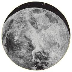 Hermes Scarf Claire de Lune Round Silk 140 Noir / Blanc / Camel New w/Box