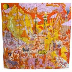 Hermes Scarf Cosmographia Universalis 90 cm Silk Orange Carre universe