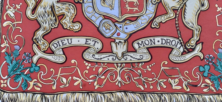 Hermès Scarf Dieu et Mon Droit The Queen's Silver Jubilee 1977 London UK Rare In Good Condition In ., FR