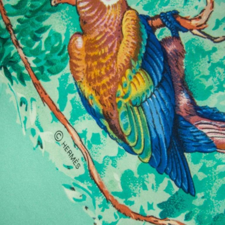 Hermes Scarf Equateur Wash Silk Twill Aqua Emeraude Fauve 90 nwt For Sale 5