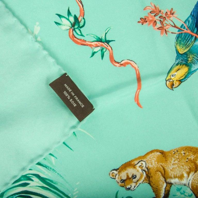 Hermes Scarf Equateur Wash Silk Twill Aqua Emeraude Fauve 90 nwt For Sale 7