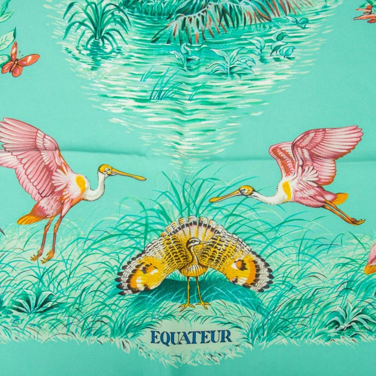 Blue Hermes Scarf Equateur Wash Silk Twill Aqua Emeraude Fauve 90 nwt For Sale