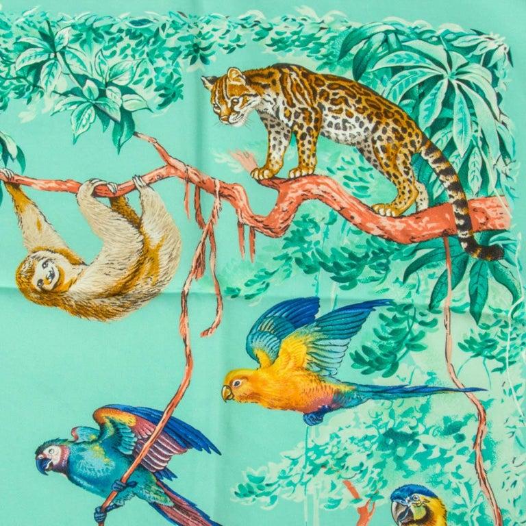 Hermes Scarf Equateur Wash Silk Twill Aqua Emeraude Fauve 90 nwt In New Condition For Sale In Miami, FL