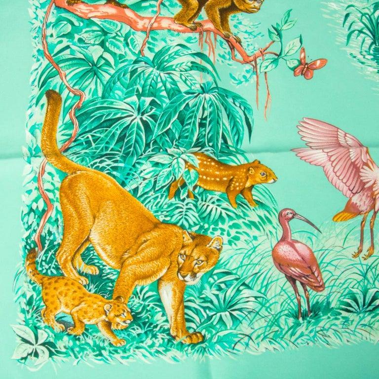 Women's Hermes Scarf Equateur Wash Silk Twill Aqua Emeraude Fauve 90 nwt For Sale