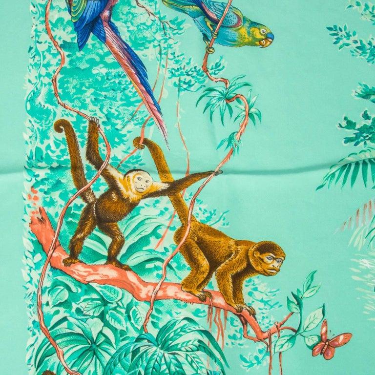 Hermes Scarf Equateur Wash Silk Twill Aqua Emeraude Fauve 90 nwt For Sale 2