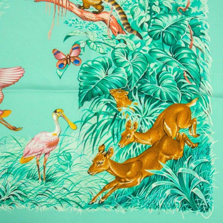 Hermes Scarf Equateur Wash Silk Twill Aqua Emeraude Fauve 90 nwt For Sale 3