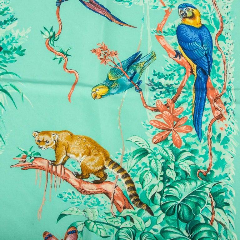 Hermes Scarf Equateur Wash Silk Twill Aqua Emeraude Fauve 90 nwt For Sale 4