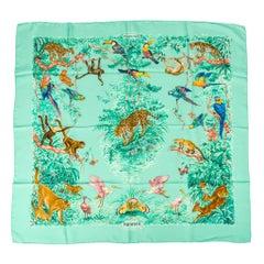 Hermes Scarf Equateur Wash Silk Twill Aqua Emeraude Fauve 90 nwt