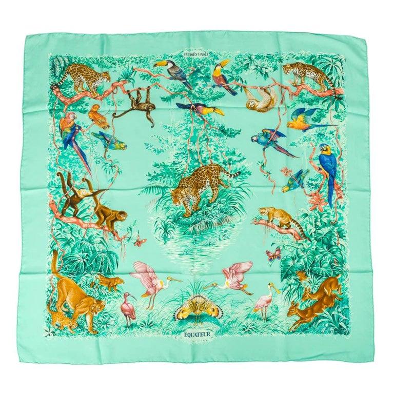 Hermes Scarf Equateur Wash Silk Twill Aqua Emeraude Fauve 90 nwt For Sale