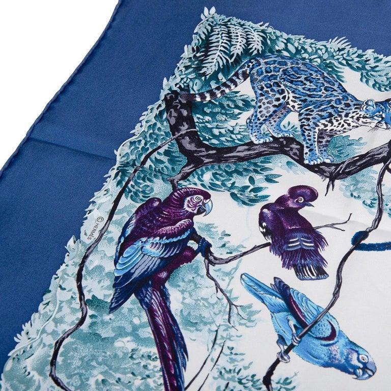 Hermes Scarf Equateur Wash Silk Twill Marine / Creme / Viole 90 New w/ Box For Sale 5