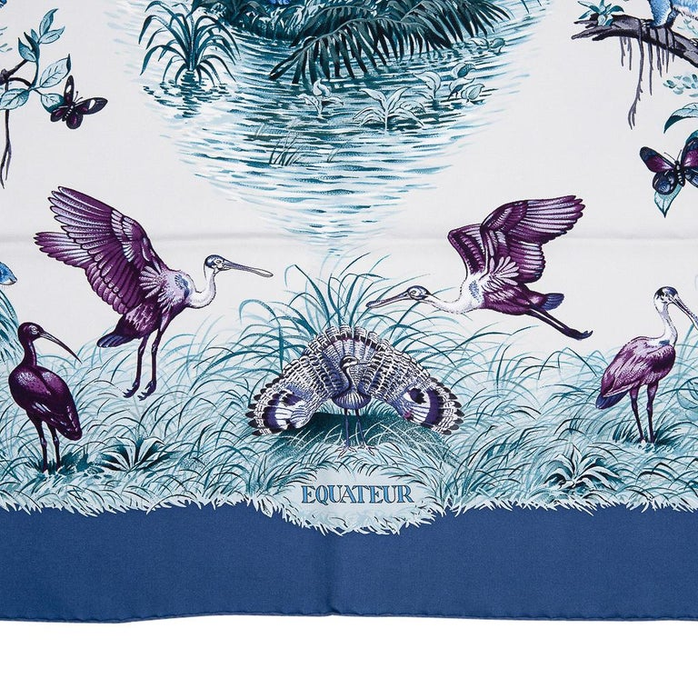 Women's Hermes Scarf Equateur Wash Silk Twill Marine / Creme / Viole 90 New w/ Box For Sale