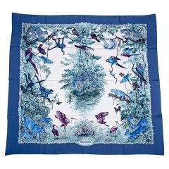 Hermes Scarf Equateur Wash Silk Twill Marine / Creme / Viole 90 New w/ Box