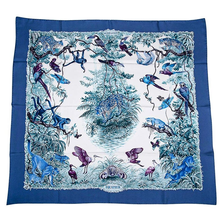 Hermes Scarf Equateur Wash Silk Twill Marine / Creme / Viole 90 New w/ Box For Sale