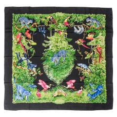 Hermes Scarf Equateur Wash Silk Twill Noir Vert Bleu 90