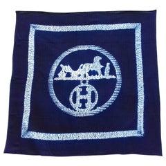 Hermès Scarf Ex-Libris Shibori Herringbone Cashmere and Silk 27' Limited RARE