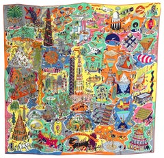 Hermes Scarf Exposition Universelle Silk 90cm Orange Jaune Multi New