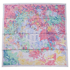 Hermes Scarf Faubourg Tropical Pierre / Rose 90 Silk New w/Box