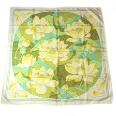 Hermès Scarf 'Fleur de Lotus' in ivory, yellow and green pastels silk