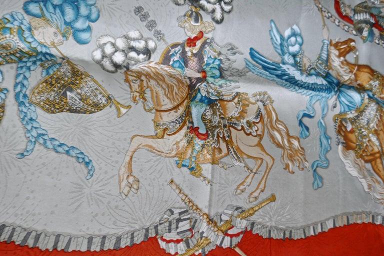 "Hermès Scarf, in 100% Silk, Michel Duchene design ""Les Fetes du Roi Soleil""  For Sale 3"