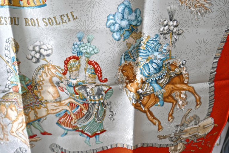 "Hermès Scarf, in 100% Silk, Michel Duchene design ""Les Fetes du Roi Soleil""  For Sale 4"