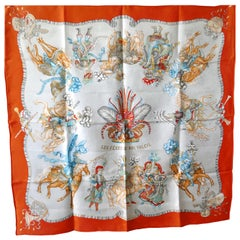 "Hermès Scarf, in 100% Silk, Michel Duchene design ""Les Fetes du Roi Soleil"""