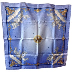 "Hermès Scarf, in 100% Silk, Philippe Ledoux ""Cosmos"" in Blue, Gold and Bronze"