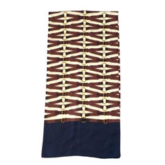 HERMES Scarf in Ivory, Burgundy and Blue Silk