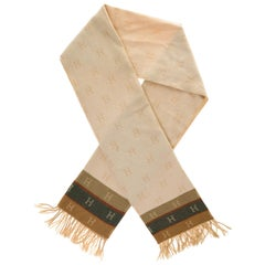Hermès Scarf in wool and cashmere beige, brown and grey