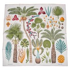 Hermes Scarf Index Palmarum Vert Olive / Ivoire Silk Twill 90 New w/ Box