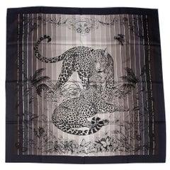 Hermes Scarf Jungle Love Rainbow Noir Blanc Gris Silk 90cm nwt