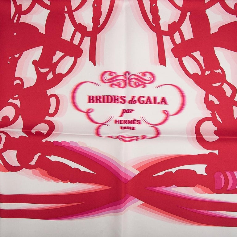 Guaranteed authentic Hermes Limited Edition Brides de Gala Shadow Silk Twill scarf designed by Hugo Gygkar.   Depicts  halo effect around the iconic print of the best selling scarf in history!  The effect is fresh, vibrant and modern. Exquisite in